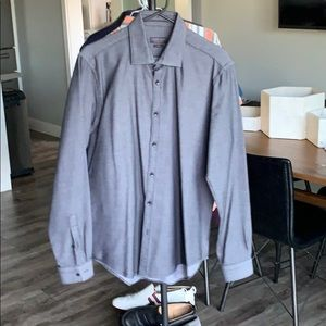 Men's Zara L/S Button Up. Black / Grey